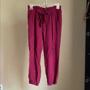 Burgundy trousers!